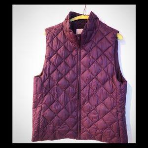 Loft Size L Wine Colored Quilted Vest